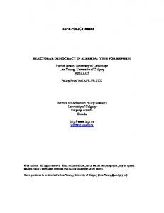 IAPR POLICY BRIEF ELECTORAL DEMOCRACY IN ALBERTA: TIME ...