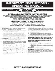 important instructions - operating manual - Platt Electric Supply