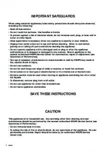 important safeguards save these instructions caution - Krups