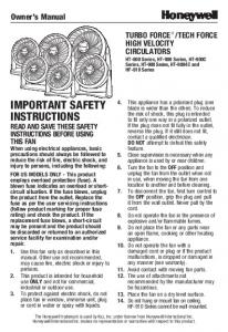 important safety instructions - Honeywell Store