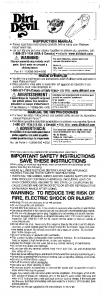 important safety instructions save these instructions - Dirt Devil