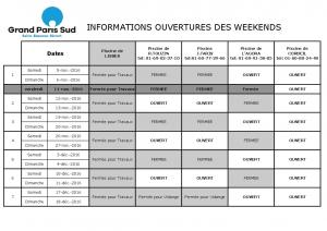 INFORMATIONS OUVERTURES DES WEEKENDS