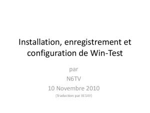 Installation, enregistrement et configuration de Win-Test - kkn.net