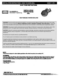 installation instructions ddl - Hubbell Outdoor Lighting