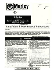 Installation & Maintenance Instructions - Marley Engineered Products