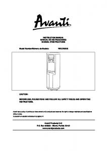 INSTRUCTION MANUAL MANUAL DE ... - Avanti Products