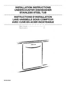 instructions d'installation lave-vaisselle sous ... - Sears Parts Direct