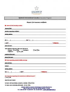 Insurance Certificate or Named Insured Request Form