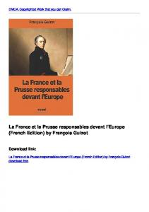 La France et la Prusse responsables devant l'Europe (French Edition ...