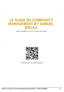 le guide du community management by samuel ...  AWS
