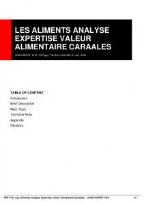 les aliments analyse expertise valeur alimentaire ...  AWS