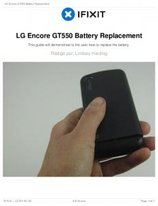 LG Encore GT550 Battery Replacement