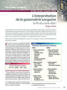L'interprétation de la gazométrie sanguine