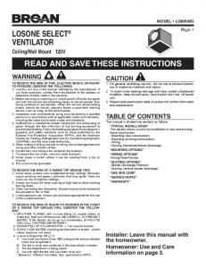 losone select® ventilator read and save these instructions - Broan