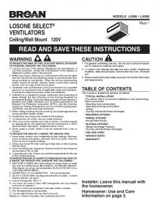 losone select® ventilators read and save these instructions - Broan