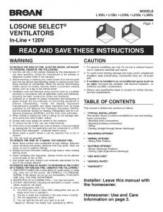 losone select® ventilators read and save these instructions