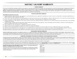 MAYTAG® LAUNDRY WARRANTY