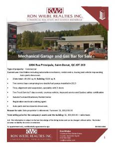 Mechanical Garage and Gas Bar for Sale
