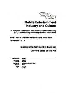 Mobile Entertainment Industry and Culture
