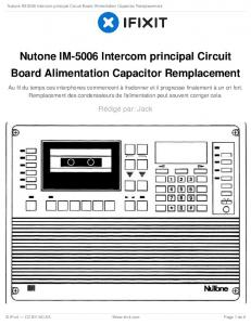 Nutone IM-5006 Intercom principal Circuit Board Alimentation ...