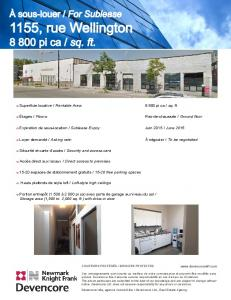 o Superficie locative / Rentable Area: 8 800 pi ca / sq. ft. o Étages ...