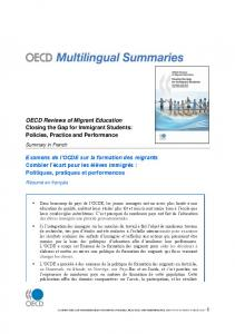 OECD Reviews of Migrant Education Closing the Gap for ... - OECD.org