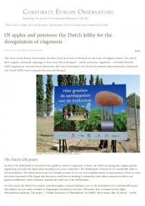 Of apples and potatoes: the Dutch lobby for the deregulation of ...