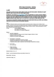 Offre de Stage Communication – Marketing Community Management ...