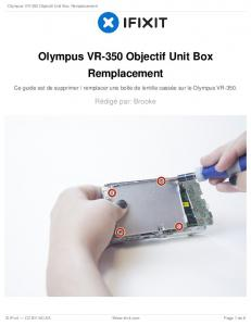 Olympus VR-350 Objectif Unit Box Remplacement