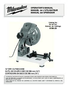 OPERATOR'S MANUAL MANUEL de L ... - Milwaukee Tool