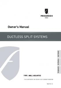 Owner's Manual - Friedrich