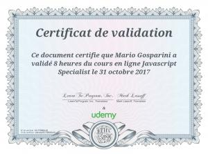 Page 1 Certificat de validation : : Ce document certifie que Mario ...