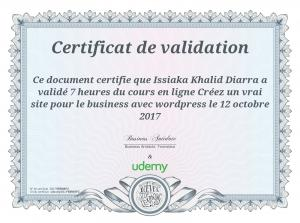 Page 1 Certificat de validation : : Ce document certifie que Issiaka