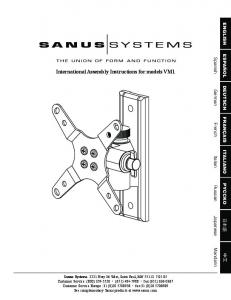 Page 1 International Assembly Instructions for models VM1 Sanus ...