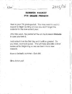 Page 1 wo - - - Q0 s/ suMMER PACKET - | | ; 7TH GRADE FREnch ...