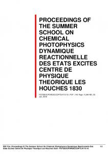 proceedings of the summer school on chemical photophysics