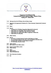 Programme of the Solidarity Rally Universal Periodic Review of
