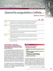 Quand la coagulation s'affole…