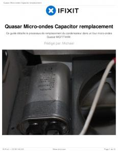 Quasar Micro-ondes Capacitor remplacement