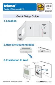 Quick Setup Guide 1. Location 2. Remove Mounting