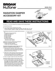 radiation damper accessory kit read and save these instructions