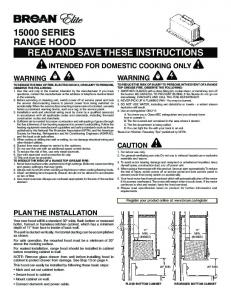 read and save these instructions 15000 series range hood