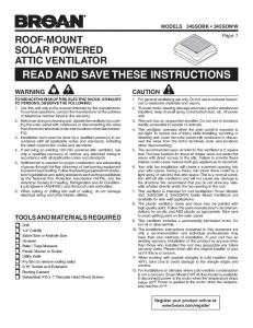 read and save these instructions - Broan