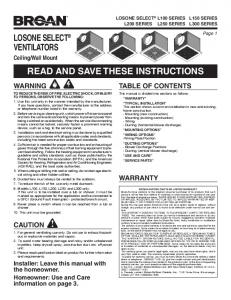 read and save these instructions losone select® ventilators - Broan