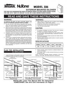 read and save these instructions model 335 - SupplyHouse.com