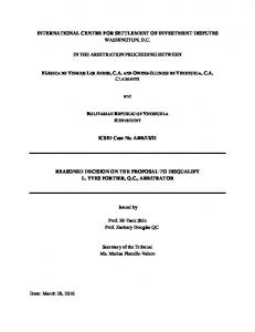 Reasoned Decision on the Proposal for Disqualification of ... - italaw