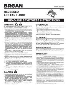 recessed led fan / light read and save these instructions