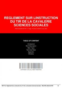 reglement sur linstruction du tir de la cavalerie sciences sociales