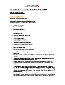 Regulatory Compliance & Safety Information for Contol4 ... - Control4
