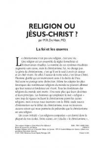 RELIGION OU JÉSUS-CHRIST ?